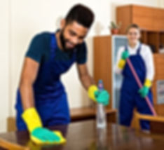 Portrait young professional cleaners cle