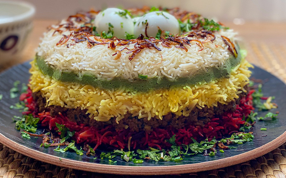 Layered rice dish