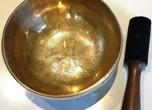 20cm 7 metal CARVED TARA Bowl G3 - True Throat Chakra