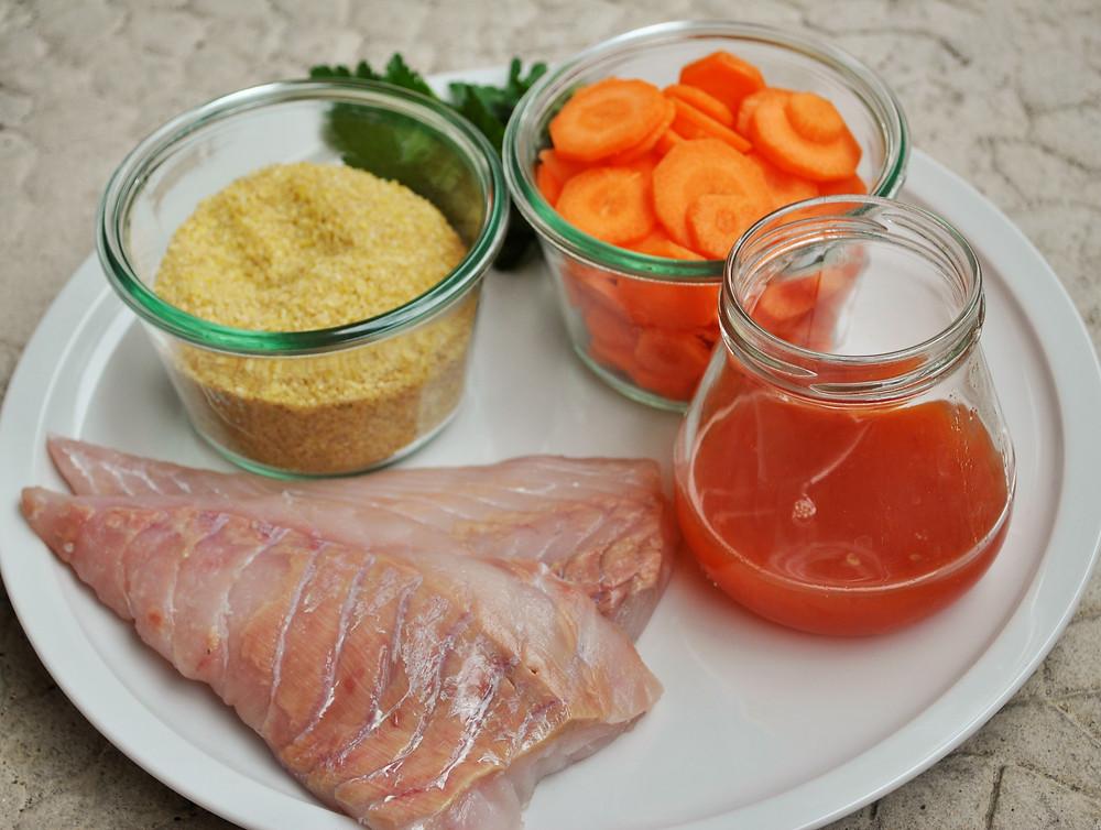 Qui Toque Lieu noir poisson sauce aigre douce boulgour carottes