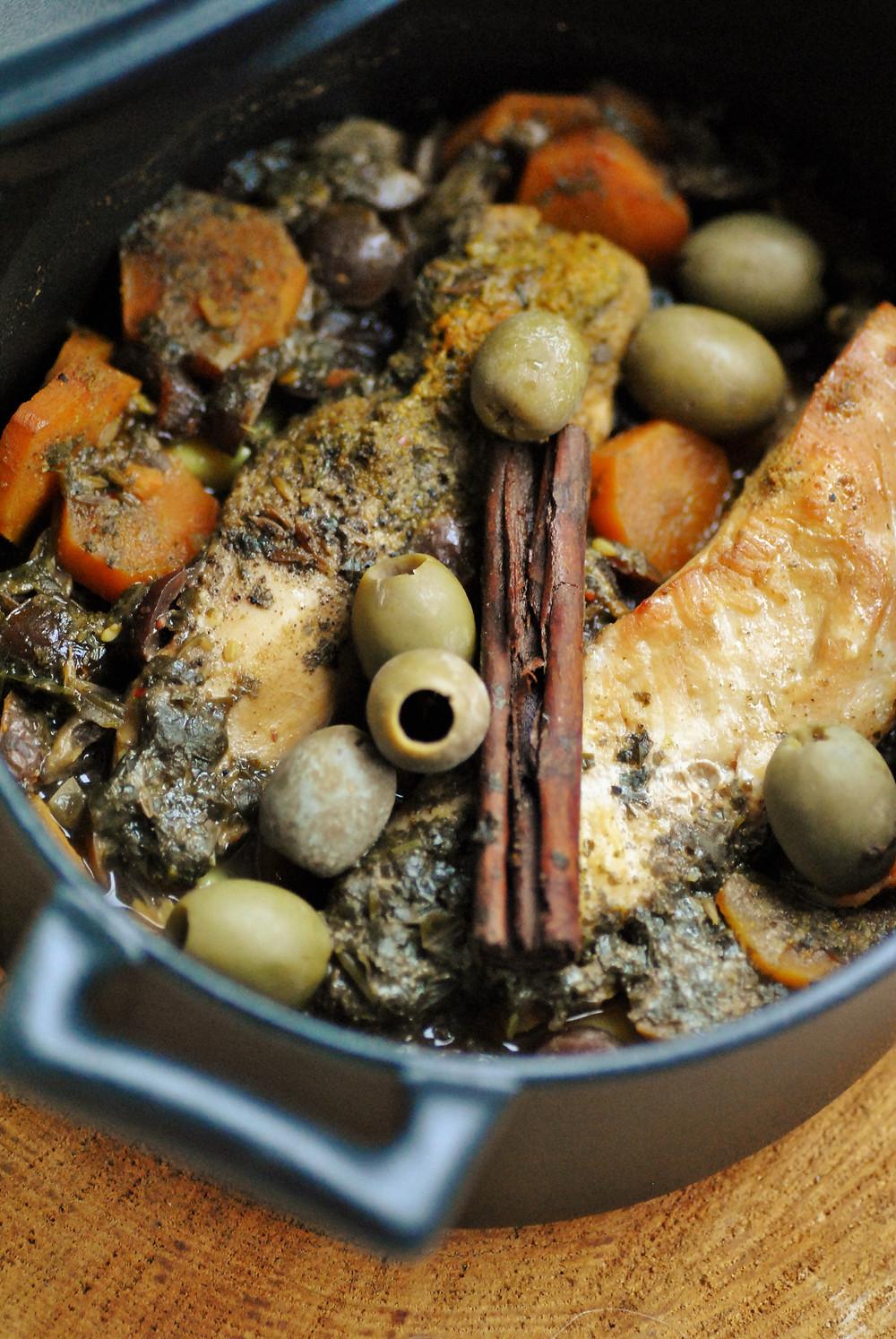 Tajine poulet abricot olive