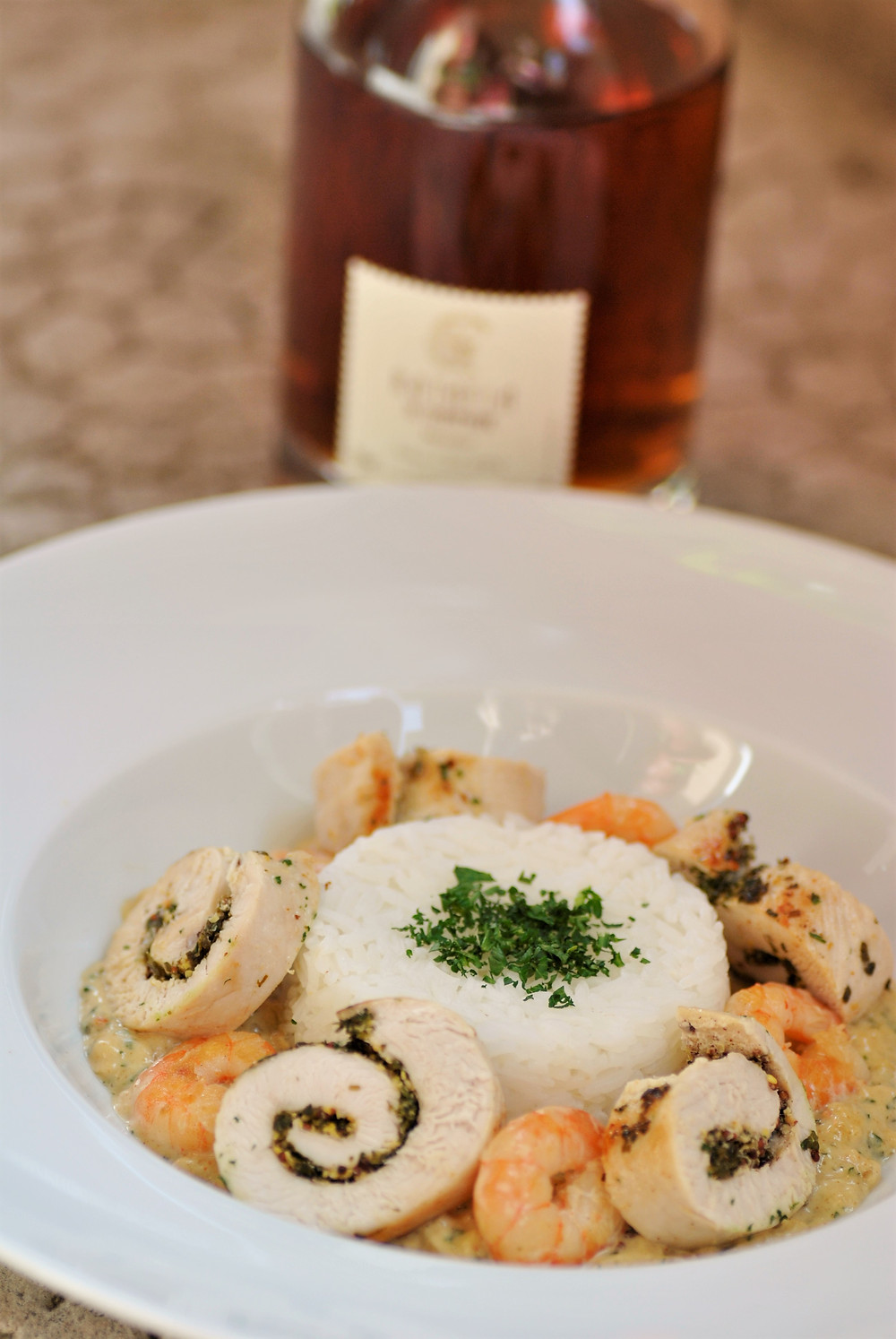 Poulet crevettes ratafia de champagne julien chopin