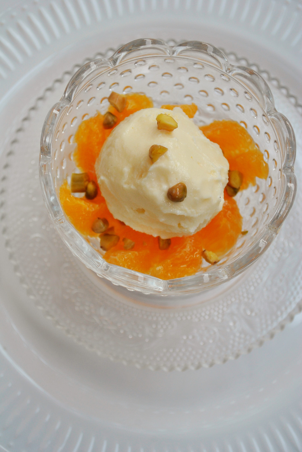 Crème  glacée fleur d'oranger suprêmes d'agrumes