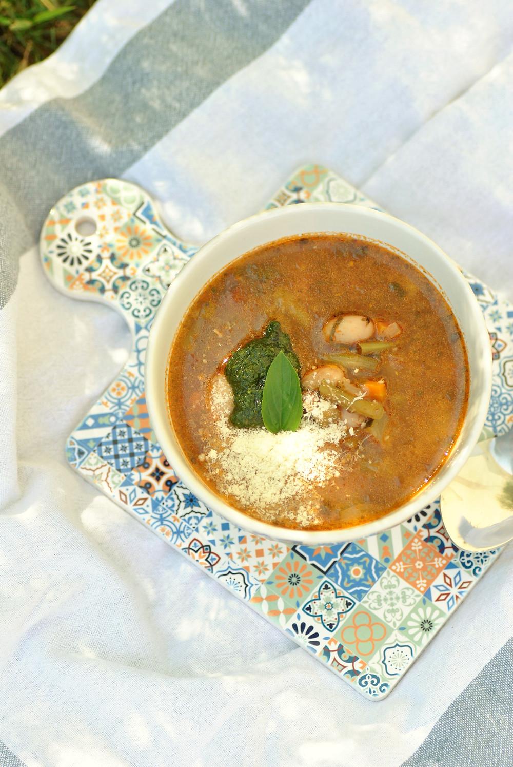 Soupe au pistou basilic tomate