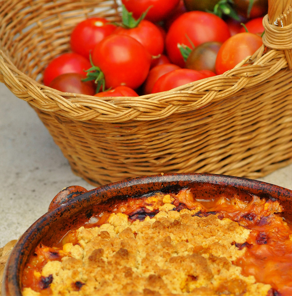 crumble tomate courgette parmesan