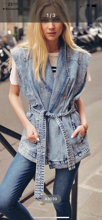 Veste jean sans manches
