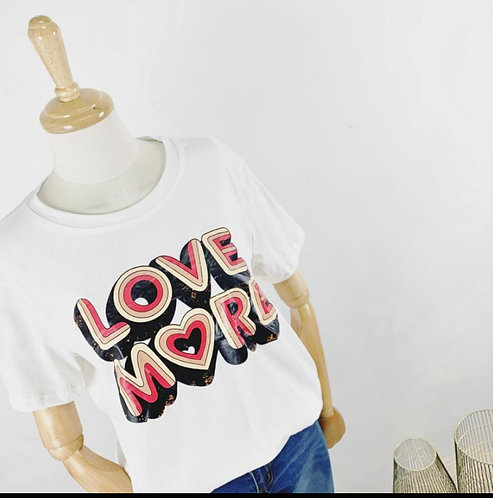 tee shirt message love more rose