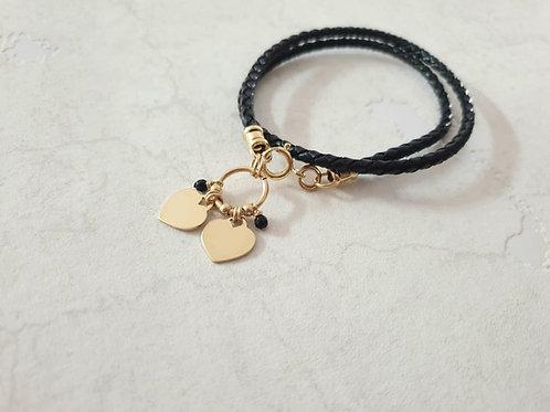 2 Hearts Bound Leather Bracelet
