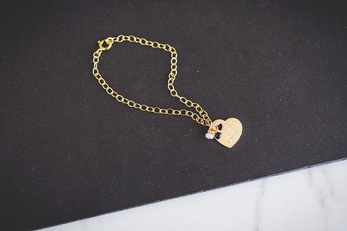 The Slanted Gold Heart Bracelet