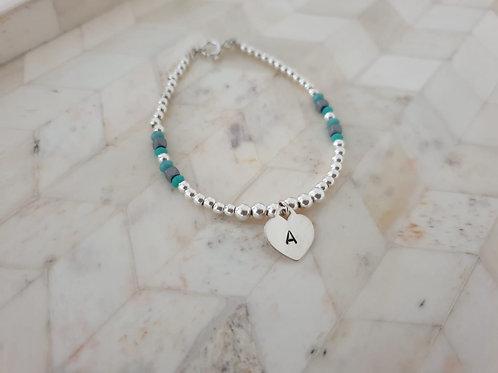 Silver Heart stamped Bracelet