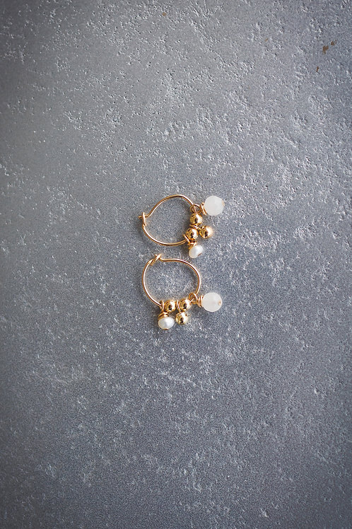 White and Gold small Earring