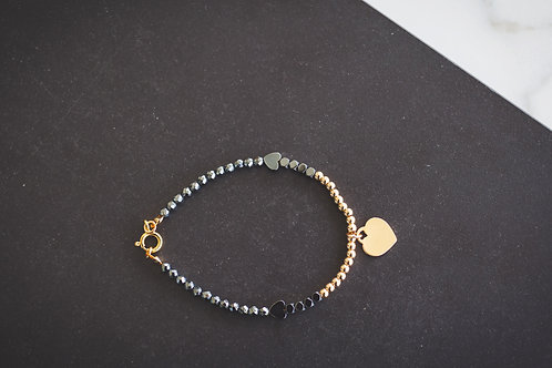 Gold and Black with heart pendant