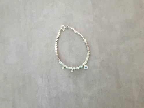 Anna Silver and Mint Eye Bracelet