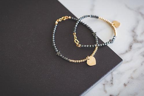 Set of Gold heart pendant Bracelets