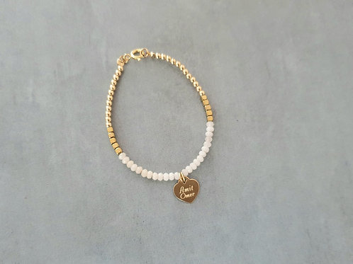 Gold and White with heart pendant