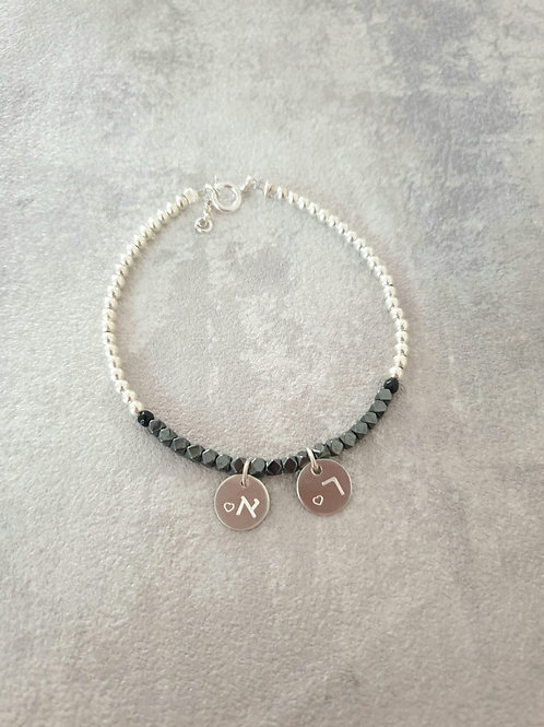 Silver and Black with double round pendants