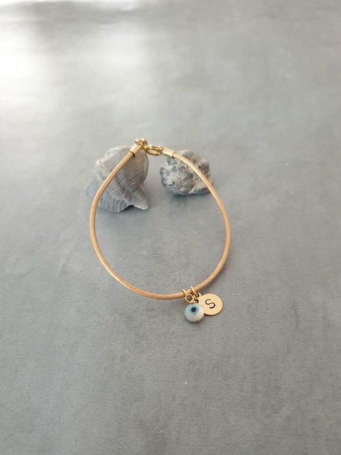 Camel Leather Bracelet with good eye