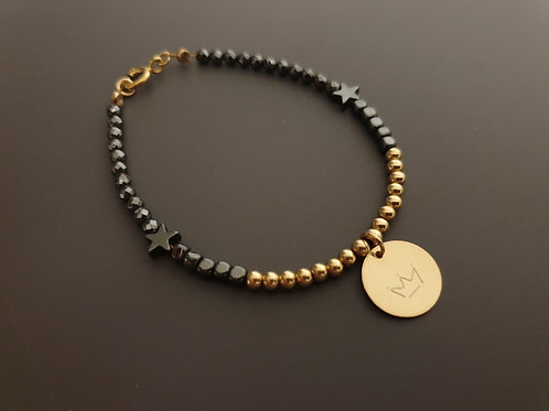 Gold and Black with round pendant