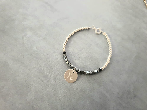 Black and Silver with Round Pendant Bracelet