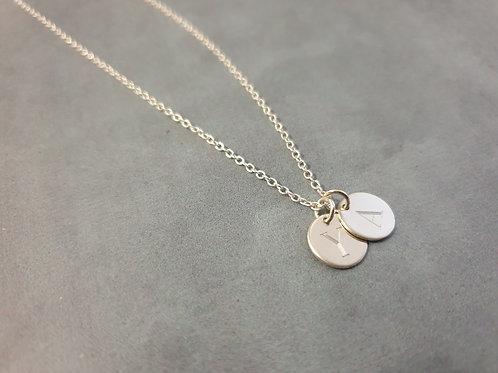 Double Round Silver Pendants Necklace