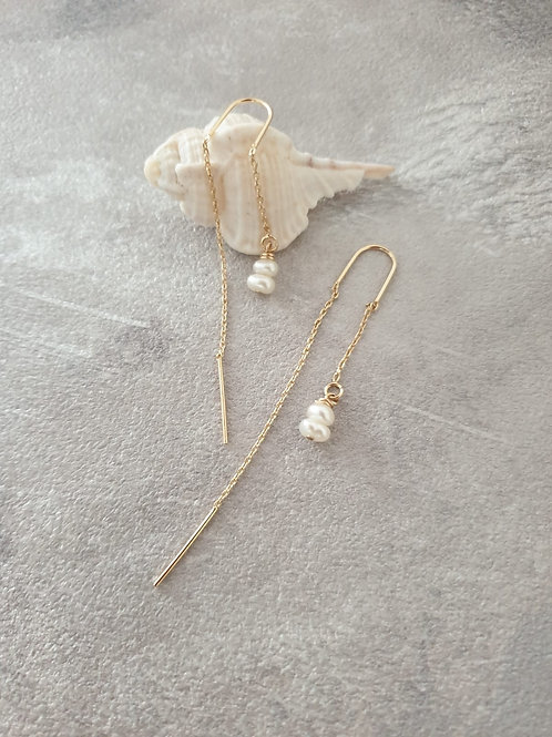 Double Pearls and Gold Earring
