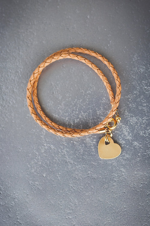 The Heart Bound Camel Leather Bracelet