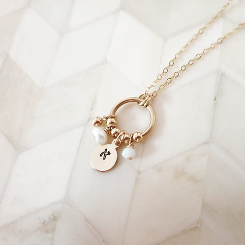 Gold and White Letter Necklace