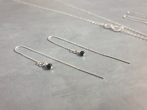 Silver and Onyx Drop Earrings