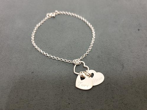 The Slanted Double Heart Bracelet