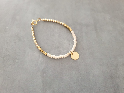Gold and White with round pendant
