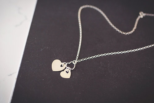The Slanted Double Heart Necklace