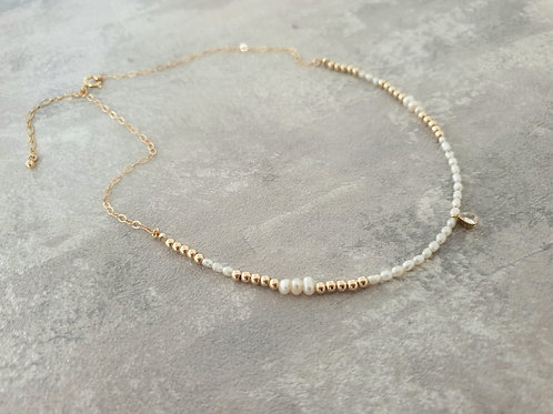 Pearl and Drop Gold Necklace
