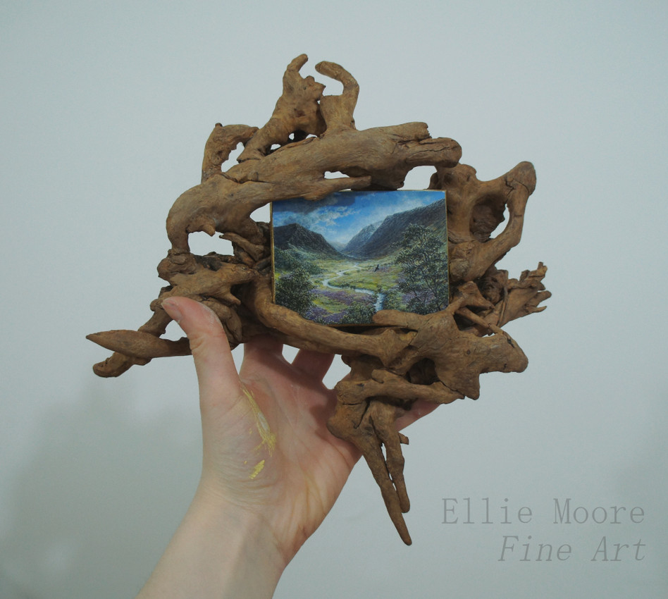 Driftwood Framed Scottish Landscape