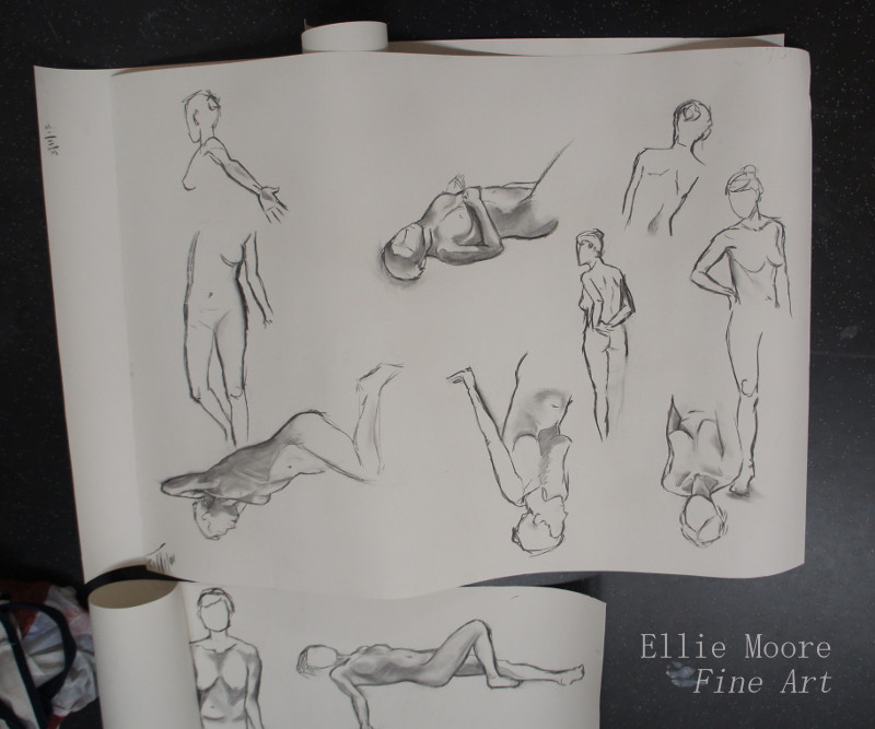 Some quick charcoal life drawing sketches