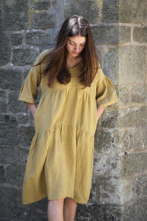 Zen Ethic Linen Angele Dress - Bronze