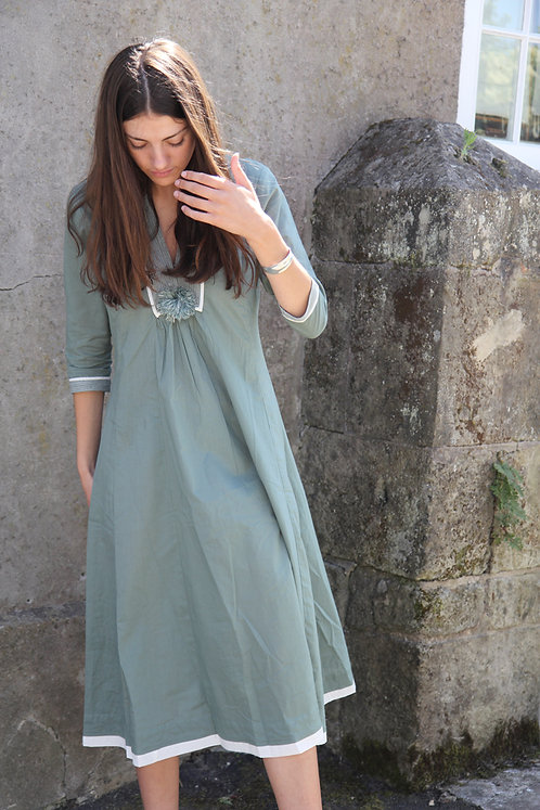 Zen Ethic Top Stitched Pom Pom Cotton Dress - Country Green