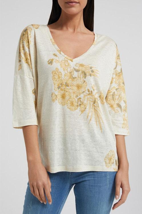 Yaya Linen Flower T Shirt