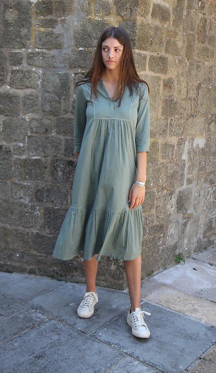 Zen Ethic Elena Cotton Dress - Country Green