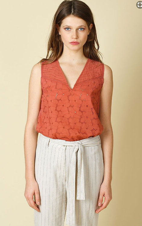 Indi and Cold - Brick Embroidery Top