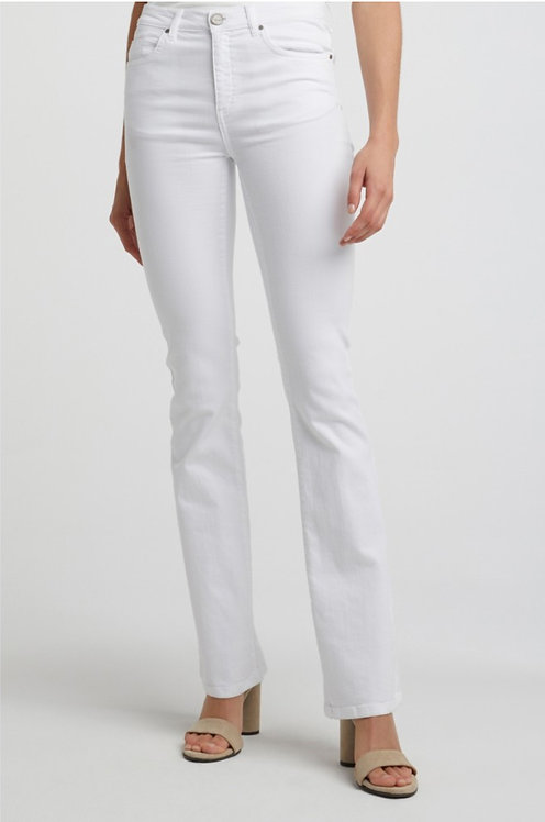 Yaya High Waisted Flared Jeans - White