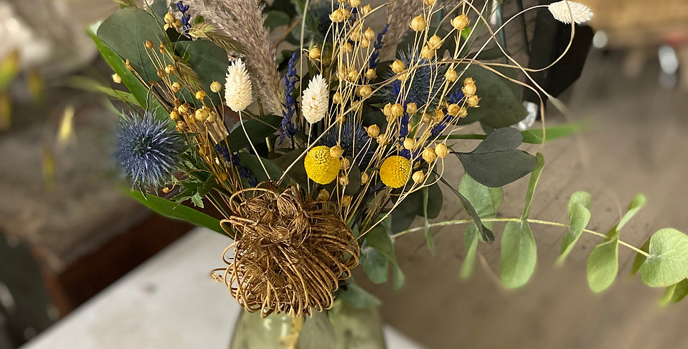 Bouquet nature touches jaune et bleue
