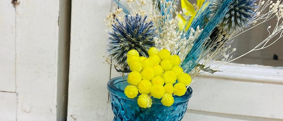 Mini Vase fleuri pepsi bleu