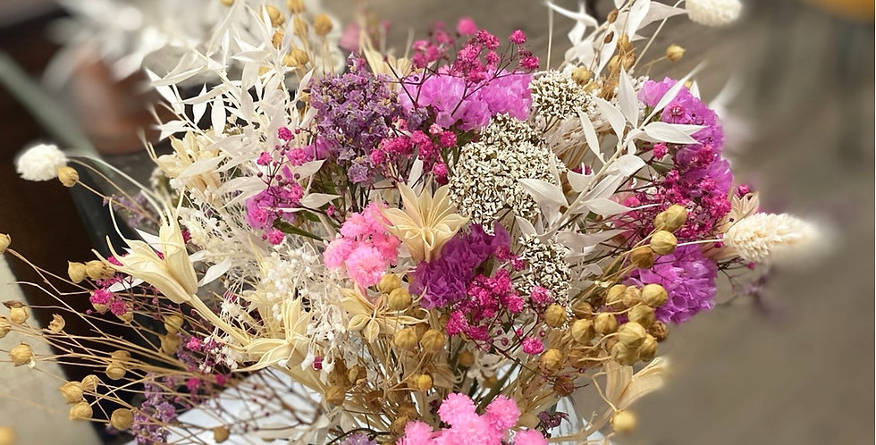 Bouquet fleurs séchées blanc rose