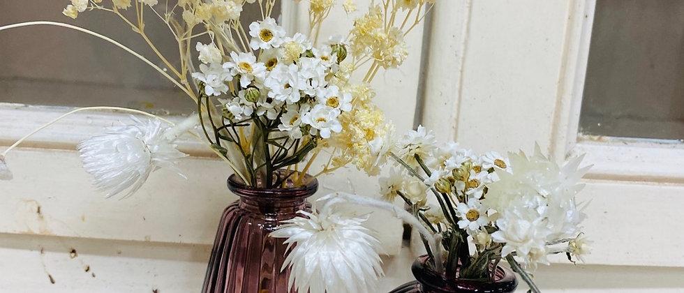 Mini Vase fleuri monochrome blanc