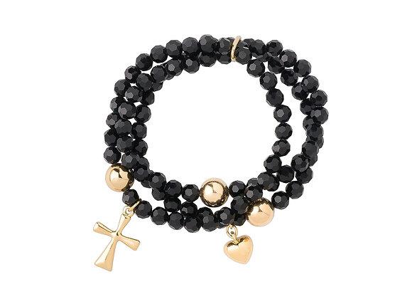 N&B Black Stone Adjustable Bracelet