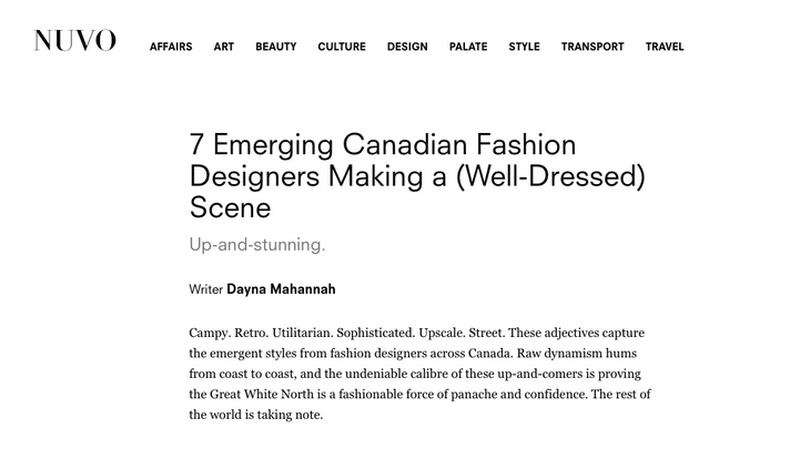 7 Emerging Canadian Fashion Designers Making a (Well-Dressed) Scene