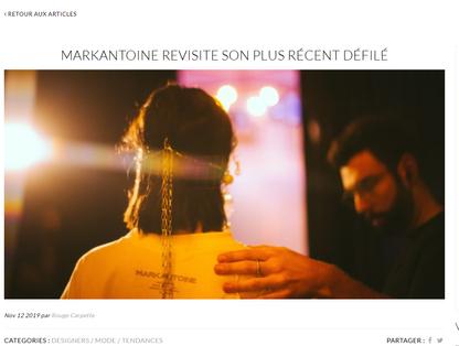 MARKANTOINE REVISITE SON PLUS RÉCENT DÉFILÉ