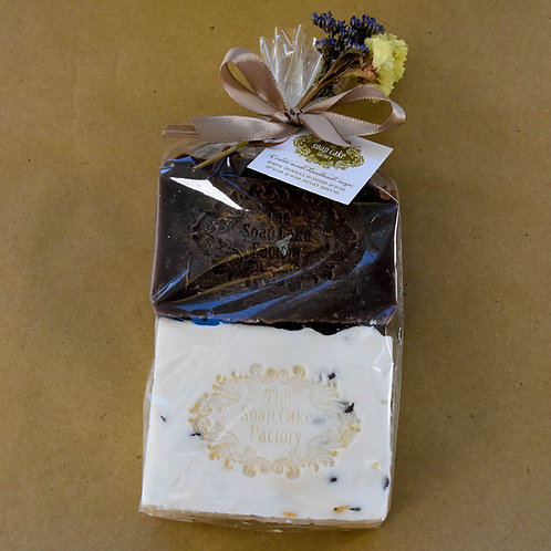 A set of brown-and-white olive oil soaps