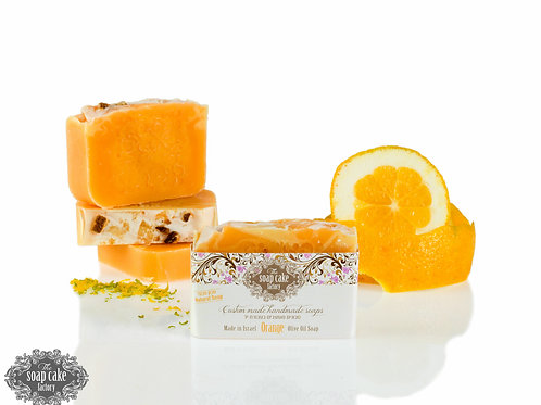 Orange soap made from olive oil