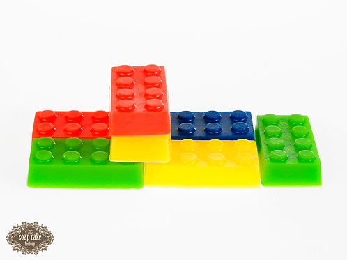 A set of trio of Lego-shaped soaps